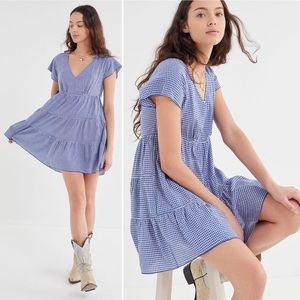 urban outfitters | jules gingham v-neck mini dress